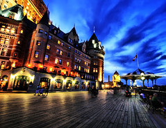 Quebec City Blue Hour (` Toshio ') Tags: old blue building brick history classic architecture town quebec perspective historic le hour boardwalk bluehour quebeccity chateau hdr fairmont frontenac chteaufrontenac toshio fairmontlechateaufrontenac highdynamicrangecloudshotelcanadasunsetpeoplecloudsold