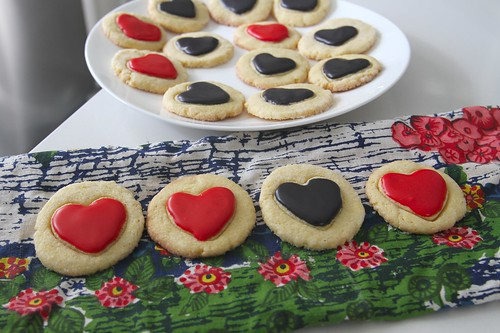 heart glazed cornmeal cookies