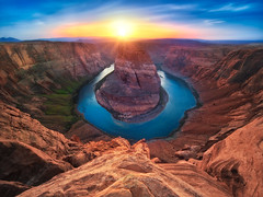 Horseshoe Bend of Colorado River  Page Arizona (janusz l) Tags: sunset arizona river us colorado bend drop canyon page meander horseshoe route89 janusz leszczynski 1224sigma vertorama kingbend darwinawardsmoment 173040feb52012