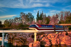 Monorail Monday (Edition 16) (Coasterluver) Tags: sunset water disneyland disney monorail tomorrowland goldenhour monorailred markvii monorailmonday coasterluver nemolagoon