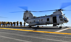 Marine Expeditionary Unit board a CH-46 Sea Knight helicopter (#PACOM) Tags: russell exercise sandiego pacificocean usmarines ch46seaknight lha5 uspacificcommand ironfist2012 pacomusspeleliu