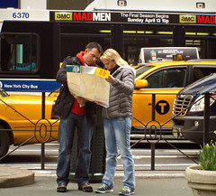 Mad Tourists (Robert S. Photography) Tags: street nyc bus map manhattan ad tourists midtown cabs canonpowershot madmen 2014 a3400