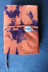 ORANGE SUEDE PURPLE TIE DYE KARMA JOURNAL (MOONWATER BOOKS (KAZ)) Tags: book beads recycled handmade journal charm handboundbook bead aged archival bookbinding pewter charms binding exposed suede dyed closure rubberstamps handmadebook recycledpaper handmadejournal handdyed handmadebooks tiedyed handbound handstamped longstitch handboundbooks upcycled handmadejournals acidfreepaper waxedlinenthread exposedbinding handmadeleatherjournal