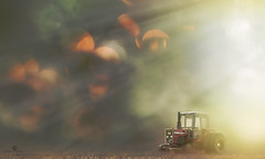 harvest in the air (rockinmonique) Tags: light tractor canon miniature haze afternoon bokeh farm harvest dust tamron bucolic moniquew