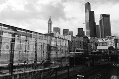 The view from 4th and Jackson. Seattle, WA. May 2016. (poopoorama) Tags: seattle blackandwhite building architecture washington unitedstates fujifilm pioneersquare xseries dannyngan x100t dannynganphotography
