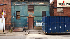 In the Alley Behind the Old East Liberty IV (on the premises) (real00) Tags: city blue urban green wall dumpster landscape alley rust pittsburgh pennsylvania decay trashbin urbanlandscape ghostsign rustbelt westernpennsylvania 2000s 2016 alleghenycounty 2010s pittsburghregion willreal williamreal
