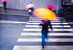 Colorbrella (marcin baran) Tags: road street city people urban motion blur color colour wet lines rain umbrella walking person movement blurry fuji walk streetphotography poland polska move human rainy fujifilm 365 gliwice x100 marcinbaran x100t