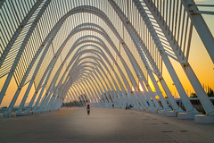 Olympic stadium, Athens (Stavros A.) Tags: road travel sunset sports iron europe afternoon fuji stadium tunnel athens explore greece calatrava olympic olympicstadium attiki   fujix100t