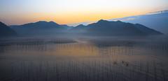 Xiapu Sunrise (Ben-ah) Tags: china travel sea mountain seascape sunrise landscape boat fishing fisherman poles fujian mudflat xiapu