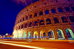 The Colosseum, Rome (BlindThirdEye) Tags: longexposure nightphotography italy rome history lowlight colosseum lighttrails bluehour monuments romanholiday fujixt1