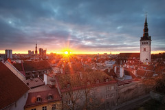Tallinn Old Town (TheFella) Tags: city morning roof urban sun slr tower church digital photoshop sunrise canon landscape eos dawn town hall photo high europe tallinn estonia ray cityscape dynamic spires capital baltic unescoworldheritagesite unesco spire roofs explore photograph processing 5d nordic burst dslr oldtown range hdr highdynamicrange stnicholaschurch eesti markii postprocessing northerneurope photomatix europeancapitalofculture explored eestivabariik nigulistekirik tallinnaraekoda tallinntownhall thefella republicofestonia 5dmarkii conormacneill thefellaphotography tallinnanigulistekirik