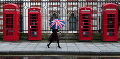 London Calling (LNS13) Tags: england colour london rain fashion umbrella telephone streetphotography unionjack phonebox londoncalling londonpride redphonebox stgeorgesday unionjackumbrella redtelephonebox londonphonebox careystreet flickrelite