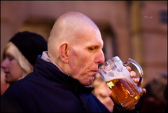 Janus downs a swift one... (*monz*) Tags: street two streets color colour beer glass canon birmingham faces head candid bald 85mm alcohol booze f18 brum gulp janus cs3 monz 5dmk2