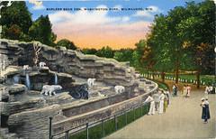 postcard - Washington Park, Milwaukee (Jassy-50) Tags: bear park wisconsin vintage zoo linen postcard milwaukee damaged washingtonpark bearden kropp
