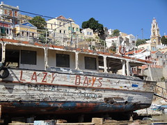 A Very Sad Boat on the Greek Island of Simi (robin denton) Tags: boats wrecks oldboats abandonedboats wreckedboats