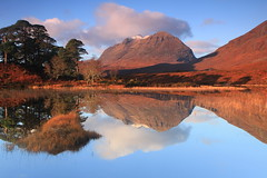 Reflected Mountain and Pines. (Gordie Broon.) Tags: uk november autumn trees mountain nature water clouds reflections landscape geotagged photography scotland scenery alba scenic escocia schottland torridon westerross ecosse snowcap munro scottishhighlands liathach westernhighlands scotspines northwestscotland lochclair canoneos7d thegreyone bestcapturesaoi coth5 gordiebroon