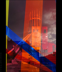 Through The Glass (peterphotographic) Tags: uk england orange building tower glass architecture liverpool cathedral britain modernarchitecture merseyside catholiccathedral canong12 img5117edwm