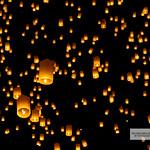 Ocean of hot air lanterns at yee peng festival, Chiang Mai Thailand