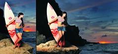 too dark to surf (dimasmutsu) Tags: ladies sunset red portrait sky bali orange woman beach girl beautiful indonesia landscape photography model nikon surf lovers potrait denpasar pw sb800 d90 pocketwizard strobist sb900 tegalwangi