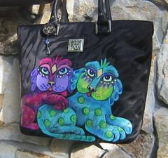 Anne Klein jaquard tote bag (WildPelican) Tags: black art by cat bag anne design klein hand painted inspired laurel tote shopper burch kerobinson kerob