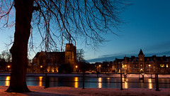 (krbnah) Tags: winter snow tree silhouette night reflections lights inverness riverness standrewscathedral nesswalk
