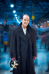 David Hayman as King Lear (TGKW) Tags: portrait people man motion david blur face station train lights movement long exposure king theatre bokeh glasgow coat central scottish shakespeare actor hayman crown citizens lear 4114
