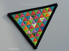 Xmas Pot Holder/coaster (Spellstone) Tags: christmas xmas red colour tree green art triangles fun design swatch artist folkart pattern colours handmade stripes stripe craft sew spot christmastree surfacedesign pot textile spots homemade fabric cotton quilting colourful dots coaster xmastree swatches potholder quiltingfabric 2011 textiledesign patterndesign miniquilt fabricdesign alexmorgan qult spoonflower spellstone fabriccollections