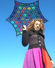 Crochet Umbrella - Upcycled Rainbow Sweater Coat (babukatorium) Tags: pink flowers blue red orange black color green art fashion yellow umbrella circle sweater rainbow funny colorful warm purple recycled handmade lace turquoise teal oneofakind coat crochet moda violet knit style used parasol button daisy hexagon hippie knitted fiori psychedelic arcobaleno remake embellished cardigan bohemian multicolor striped whimsical ombrello maglia haken parasole hkeln croch ganchillo fuxia upcycled uncinetto handdecorated  daisyloom tii horgolt decoratoamano babukatorium