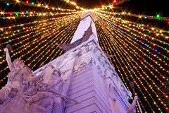 Indy Monument Circle lights (indykaleu) Tags: christmas decorations urban cold color colors night rural canon dark eos lights colorful december indianapolis indy indiana christmaslights nighttime christmasdecorations 1855mm merrychristmas 30d monumentcircle 2011 circleoflights canoneos30d indykaleu indyflickr18dec2011