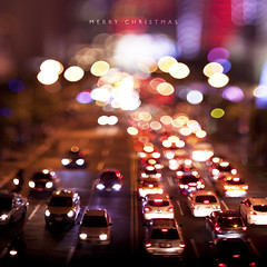 Merry Christmas (brandonhuang) Tags: christmas xmas light cars car canon lens 50mm lights traffic bokeh taiwan free shift taipei merry f18 tilt lensing 500d lensed 2011 brandonhuang freelens freelensing tiltshilft freelensed