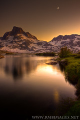 Gratitude (Explored) (Bowman66) Tags: california trees sunset moon lake snow reflection grass canon twilight rocks granite sierras highsierras peninsula anseladamswilderness easternsierras mtbanner micarttttworldphotographyawards micartttt thousandislandlakes rmbimages michaelchee