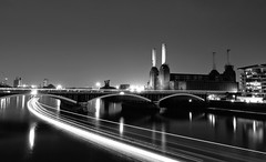 Speed of Light (vulture labs) Tags: city longexposure bridge light urban bw reflection london art water station thames skyline architecture night river photography nikon long exposure cityscape power battersea d5000 nikond5000 vulturelabs