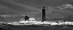 Surf's Up (Steven White Photographic Art) Tags: blackandwhite bw lighthouse storm art monochrome canon landscape ir pier artistic fineart infrared 5d fineartphotography digitalinfrared convertedinfraredcamera blackandwhitedigitalinfraredlakemichigan
