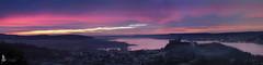 Angera immersa nell'aurora (_milo_) Tags: pink italy canon italia rosa aurora panoramica lagomaggiore mattina angera 18135 60d roccaborromeo