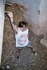 Pawel in the barn (luksodrome) Tags: summer man tattoo barn fun wolf tshirt gradient noodle vest spaghetti 2012 pawel 2011 luksodrome