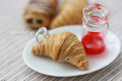 Croissant Pendant (PetitPlat - Stephanie Kilgast) Tags: paris rainbow colorful small jewelry crescent jewellery polymerclay fimo bakery croissant earrings minifood schmuck boulangerie inedible miniaturefood fauxfood petitplat stephaniekilgast bijouxgourmands
