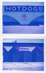 Hamer, SC (patrickjoust) Tags: blue usa color film sc analog america project print polaroid sadness us focus diptych loneliness sad fireworks empty south united north patrick rangefinder 350 american automatic type carolina instant hotdogs 100 states manual joust range finder sob southoftheborder hamer impossible estados unidos autaut patrickjoust