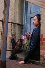 Sophie (KayeNicole) Tags: winter urban color girl leather 50mm nikon downtown dress legs sophie tights jacket westvirginia d100 dots naturallighting 2870mm