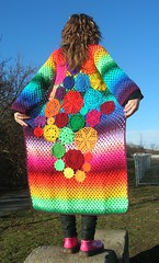 Dream Coat (babukatorium) Tags: pink flowers blue red orange flower color green art lana wool fashion yellow circle star sweater rainbow funny colorful warm purple handmade lace turquoise teal burgundy oneofakind pastel coat crochet moda peach violet knit style shades shade bow gradient daisy hexagon hippie knitted fiori psychedelic fiore arcobaleno cardigan bohemian doily multicolor striped whimsical darkblue mintgreen maglia haken icord hkeln emeraldgreen croch ganchillo babypink fuxia uncinetto fattoamano  tii horgolt babukatorium