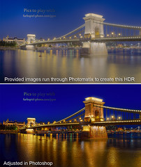 Chain Bridge - Before/After - Budapest, Hungary (Pat Kavanagh) Tags: germany challenge hdr budapesthungary klausherrmann hdrcookbook