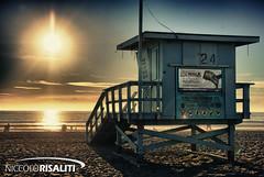 Watchtower (Nik 5) Tags: ocean sea sky usa sun tower america sand unitedstates santamonica hdr baywatch
