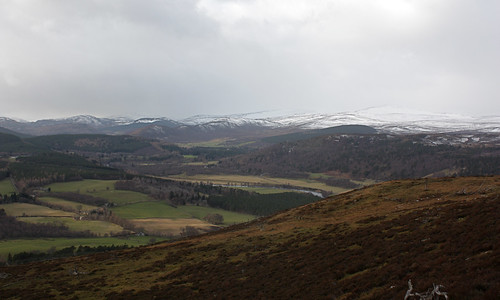 Towards the snow-covered Cairngorms