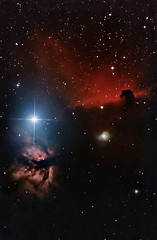 Horsehead and Flame 12 January 2012 (BudgetAstro) Tags: nikond70 astrophotography orion ngc2024 ic434 dss horseheadnebula alnitak flamenebula ngc2023 deepskystacker Astrometrydotnet:status=solved Astrometrydotnet:version=14400 Astrometrydotnet:id=alpha20120156247585