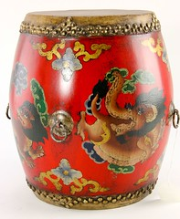 26. Painted Chinese Drum, Skin Top