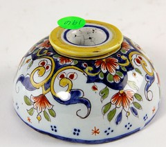 70. Antique French Faience Inkwell
