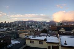 Downtown Vancouver and Southeast False Creek (qousqous) Tags: winter snow mountains skyline vancouver downtown industrial towers downtownvancouver canonef2470mmf28l southeastfalsecreek
