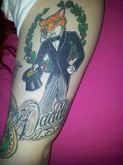 mr fox tattoo for my daddy (cupcakeAQ) Tags: girl tattoo daddy arm traditional fox gentleman