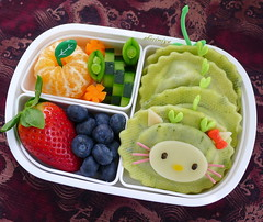 Hello Kitty Dragon Bento (sherimiya ) Tags: school cute face tangerine cheese lunch kid healthy strawberry dragon hellokitty cucumber sheri chinesenewyear kawaii carrot bento blueberries nori ravioli obento peapod charaben wholesomelunchbox sherimiya