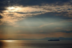 Soft Sunlight on Lake Champlain (jasohill) Tags: sunset usa lake water clouds burlington japanese scenery vermont day cloudy champlain backgrounds rays 2012 crepuscular landcape fabuleuse