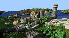 Render Image of our Minecraft Village (post-apocalyptic research institute) Tags: desktop wallpaper render blender export minecraft mineways